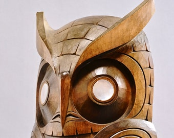 Large William Watts Coast Salish Carved Owl - Mother of Pearl Eyes
