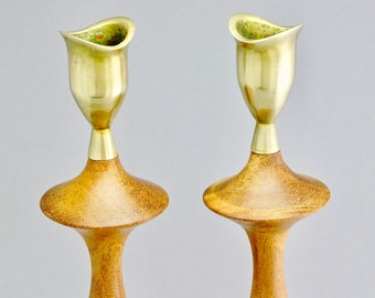 Vintage MCM Danish Modern Teak & Brass Candleholders Candlesticks