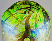 Vintage Richard Satava Iridescent Art Glass Landscape Vase - Dated 1984