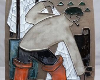Vintage Fyrbo Made in Denmark Pottery Art Tile - Fisherman
