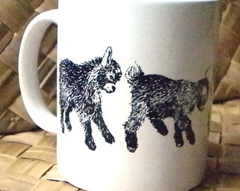 New Kid On the Block - 11 oz White Ceramic Pygmy Goat Mug
