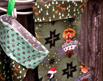 Animals on Green Christmas Stocking