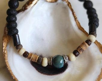 Men's Bracelet, Handmade Beach Jewelry, Surf Bracelet, Stacking Bracelet, Gift For Him, Lava Rock Bead, Black Green, Summer Vacation, John B