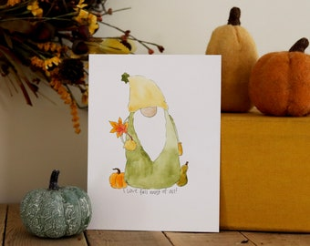 Autumn Gnome, Seasonal Watercolor, I love fall most of all, Thanksgiving Tomte, Pumpkin and Gourd, Harvest Gift,  Fall Leaves, Cozy Fall Art