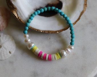 Women's Beach Bracelet, Layering Jewelry, Beaded Bracelet, Teen Girl Gift, Heishi Bead, Cultured Pearl, Hot Pink, Sky Blue, Yellow, Surfer
