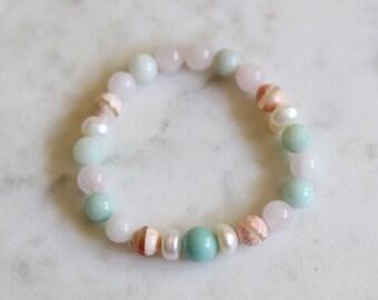 Women's Beach Bracelet, Stretch Jewelry, Layering Stacking Bracelet, Rose Quartz, Amazonite, Cultured Pearl, Beach Wedding, Gift For Her