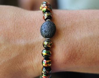 Men's Bracelet, Lava Rock, Stretchy Stackable Bracelet, Surf Beach Wear, Diffuser Jewelry, Red Yellow Green Glass Beads, Rasta Bracelet