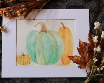Pumpkin Watercolor, Fall Decor, Halloween, Autumn Sign, Cozy and Warm Fall, Thanksgiving , Pumpkin Fall Gift, Rustic Fall, Pumpkin Spice