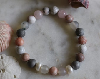 Women's Mixed Gemstone Bracelet, Stretch Layered Jewelry, Pink and Gray, Beach Bohemian Bracelet Stack, Men Surf style, Beachy Vacation wear