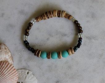 Men's Beach Bracelet, Stretch Beaded Jewelry, Surfer Style, Handmade Layering Bracelet, Boho Festival Jewelry, Beach Wedding, Aqua Blue
