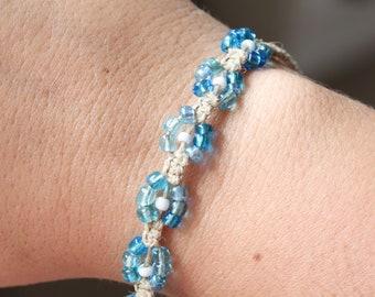 Daisy Bracelet Anklet, Hemp Braided Jewelry, Friendship Bracelet, Surfer Girl, Beachy  Best Friend Gift, Handmade Beaded Flower, Summer