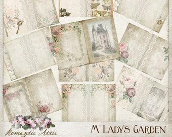Old Rose Printable Journal, Hybrid Journal, french, garden, vintage, junk journal, digital paper, ephemera, tags, commercial use, mini album
