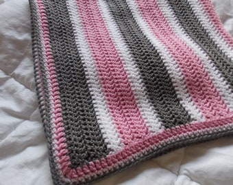 Made to Order- Grey and Pink Baby Blanket- Made to order