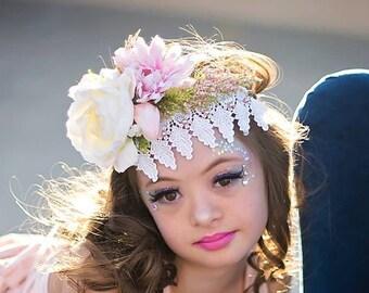 lace floral crown, flower crown, photo prop, lace crown, floral crown, photography prop, prop crown, ready to ship