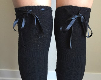 Boot Socks - Knitted Black Thigh High Ribbon Bows - Scrunch to Knee High or any height! Wool - Cozy & Warm! Over the Knee Boot Socks / Cuffs