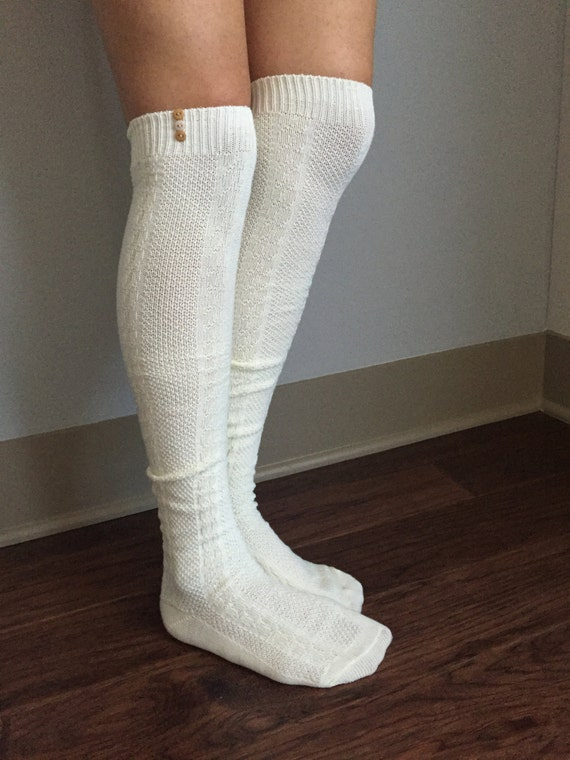 new lower prices arrives many styles Cream Boot Socks : Brown & Tan Buttons - Over the Knee Knit Cotton Socks