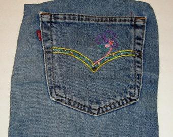6123020e4e Embroidered Denim Pocket extra pocket for favorite skirt beach bag