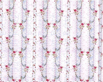 "Tissu imprimé ""Roses Victoriennes"" taille XS 15x18 - Printed fabric Toile de Jouy ""Roses Victoriennes"" XS 6X7 inchs"