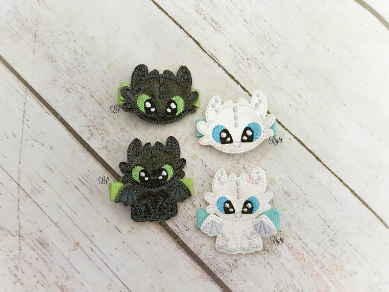 Dragon hair clip Dragon Baby Hair Clip Night Fury & Light Fury Dragon Hair  clippie cutie Pick one or two  Pick Left side or Right