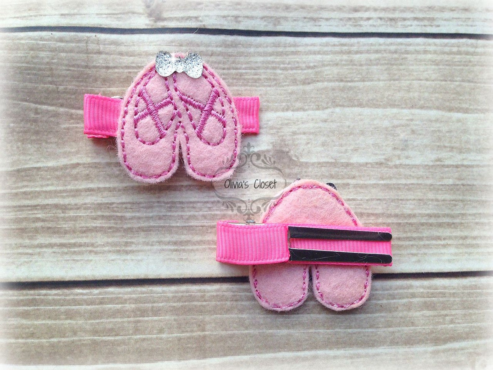 ballet hair clip shoes dancing performance embroidered felt hair clippie tiny rhinestone bows. pick one or two. pick left side o