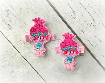 Poppy hair clip Troll Hair clip Princess hair clip. Pick Left side or Right.