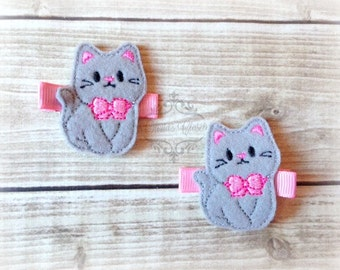 Kitty hair clip Cat clip Grey Cat hair clip. Pick Left side or Right.
