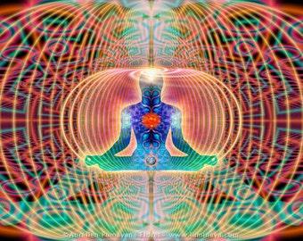 HYPERSPACE - Tapestry, Wall Hanging -Original Pumayana Visionary Healing Art, Spiritual, Shamanic, Sacred Geometry, Entheogenic Art