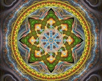 ALPHA CENTAURI - Tapestry, Wall Hanging - Pumayana Visionary Healing Art, Spiritual, Psychedelic, Shamanic, Sacred Geometry, Entheogenic Art