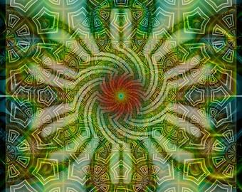 CHALIPONGA -- Tapestry, Wall Hanging - Original Pumayana Visionary Healing Art, Spiritual, Psy, Shamanic, Sacred Geometry, Entheogenic Art