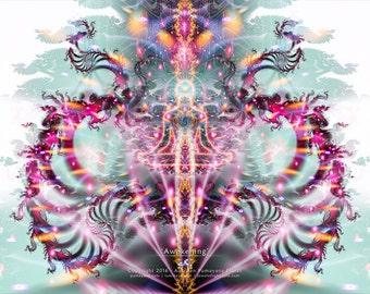 AWAKENING - Tapestry, Wall Hanging -  Original Pumayana Visionary Art, Spiritual, Psy, Shamanic, Sacred Geometry, Entheogenic Art