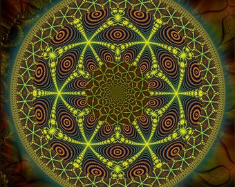 MESCALINE - Tapestry, Wall Hanging - Original Pumayana Visionary Art, Spiritual, Psy, Shamanic, Sacred Geometry, Entheogenic Art