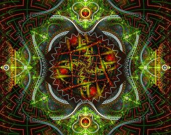 AYALCHEMY -- Tapestry, Wall Hanging - Original Pumayana Visionary Healing Art, Spiritual, Psy, Shamanic, Sacred Geometry, Entheogenic Art