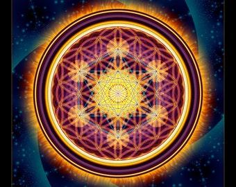 STARGATE - Tapestry, Wall Hanging - Pumayana Visionary Art, Spiritual, Psy, Shamanic, Sacred Geometry, Entheogenic Psychedelic Art