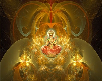LAKSHMI -- Tapestry, Wall Hanging - Pumayana Visionary Healing Art, Spiritual, Psy, Shamanic, Sacred Geometry, Entheogenic Art
