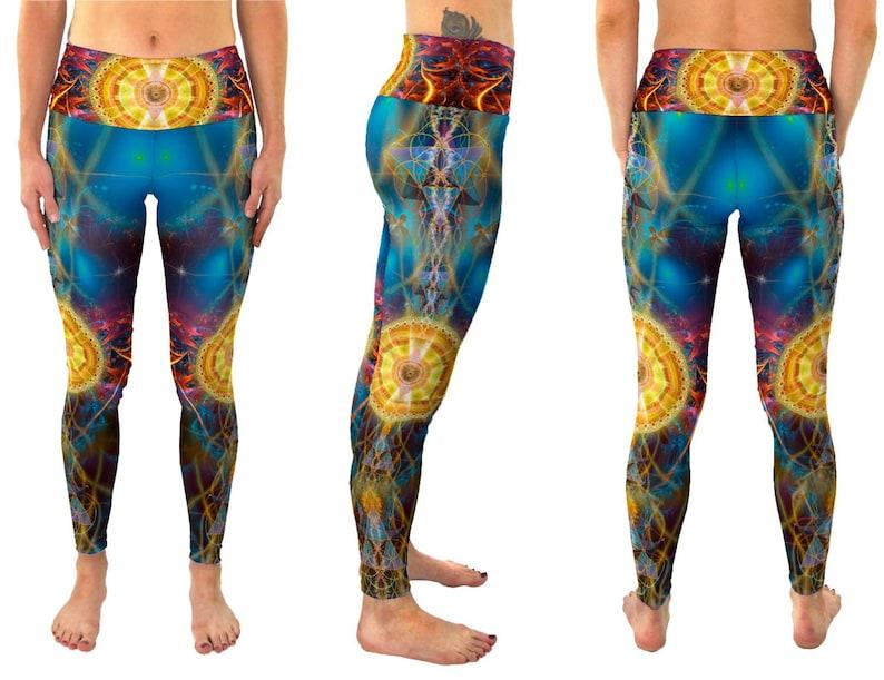 Outfit Fold Over Sacred Geometry Pants Festival Aesthetic Gym Workout Clothing SunMatrix High Waisted Leggings Yoga