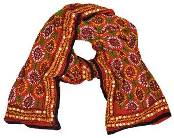 Vintage Phulkari Hand Embroidered Pashmina Shawl EH87