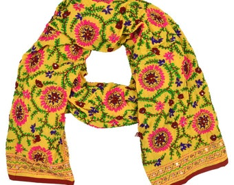 Vintage Phulkari Hand Embroidered Pashmina Shawl EI31