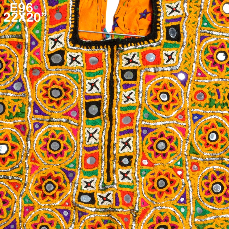 Vintage Big Banjara Neck Yoke Hand Embroidered Applique Patch Sewing Textile Beautiful Fabric For Vintage Lover E96