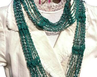SLINKY Infinity Beaded Scarf Necklace Choker Crochet Pattern DIY Christmas gift Valentine's Birthday Mothers day