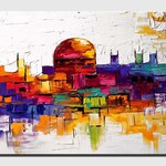 Canvas Art, Modern Wall Art, Stretched, Embellished & Ready-to-Hang Print - Jerusalem - Art by Osnat