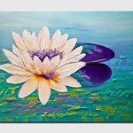 Canvas Art, Modern Wall Art, Stretched, Embellished & Ready-to-Hang Print - Lotus - Art by Osnat