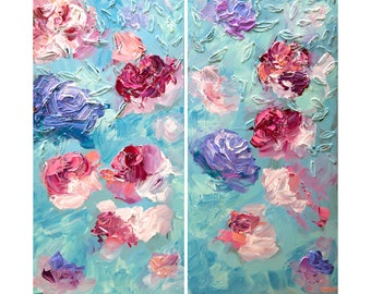Contemporary Rose Art, Modern Roses Abstract Painting, Colorful textured Floral abstract painting, Colorful Spring Flowers Painting by Osnat