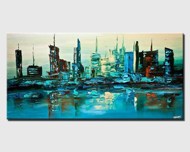 Abstract Print Canvas Art Print by Osnat Wall Art Abstract Painting PRINT on Canvas