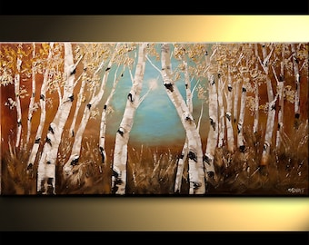 """Birch Acrylic Painting 48"""" Modern Acrylic Painting Silver Birch Tree Palette Knife Landscape by Osnat - MADE-TO-ORDER"""