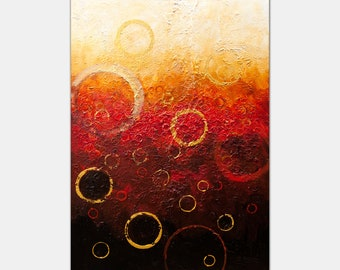 """Modern Abstract Painting, contemporary art, black red gold Abstract Art, Textured Wall Art , Big Painting by Osnat 40""""x60"""""""