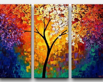 Colorful Blooming Tree Abstract Print, Based On My Abstract Painting, Wall Art PRINT on Canvas, Canvas Art Print - Multi Panel by Osnat