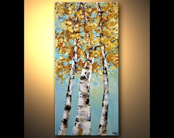 Landscape Acrylic Painting Modern Acrylic Painting Birch Trees in Autumn Palette Knife by Osnat - MADE-TO-ORDER