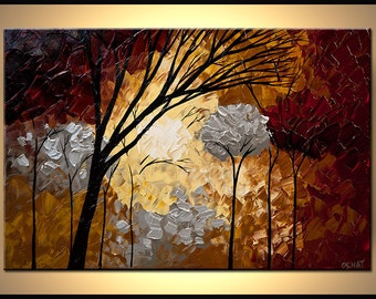 """Silver Landscape Blooming Trees Painting Forest Original Abstract Modern by Osnat - MADE-TO-ORDER - 36""""x24"""""""