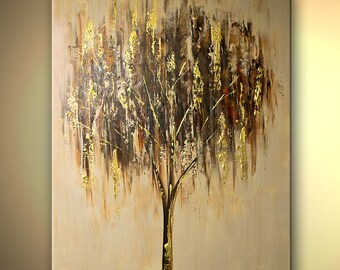 """Tree Painting Cherry Tree Acrylic Painting 40"""" x 30"""" Gold, Olive Green, Cream by Osnat - MADE-TO-ORDER"""