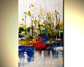"""White abstract Landscape painting Contemporary Modern Palette Knife by Osnat - MADE-TO-ORDER - 40""""x24"""""""